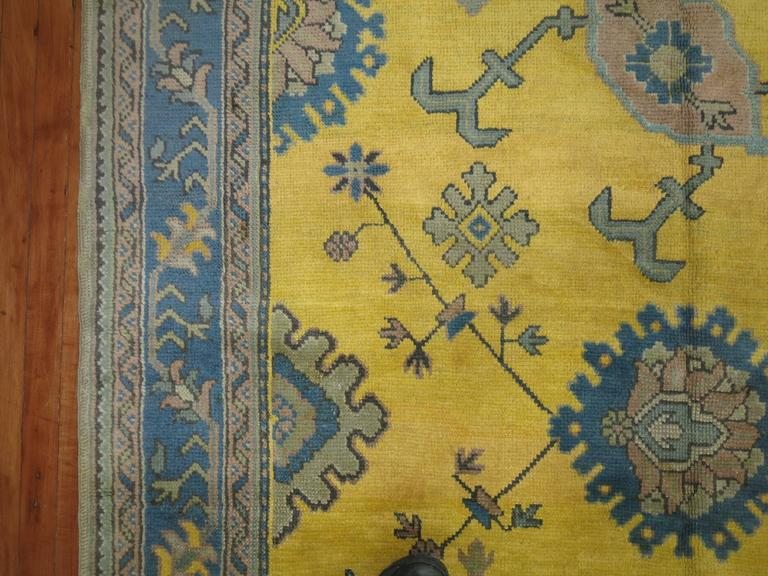 Antique Turkish Oushak in Bright Yellow 8