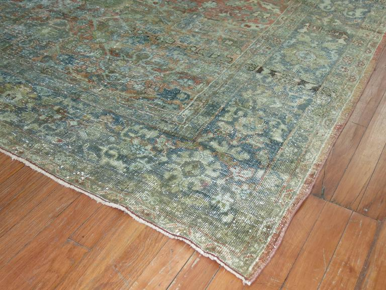 Hand-Knotted Shabby Chic Persian Mahal Carpet For Sale