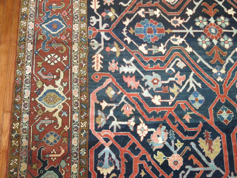 Hand-Knotted Antique Persian Serapi Rug For Sale