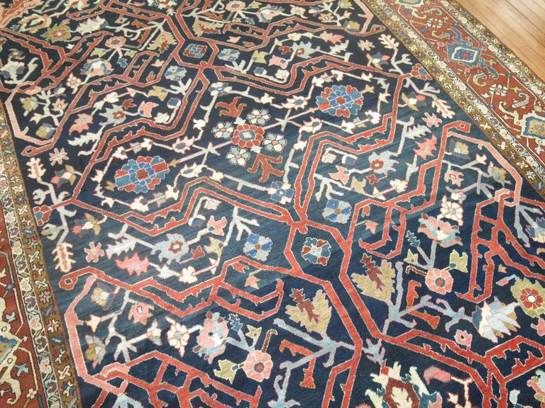 Wool Antique Persian Serapi Rug For Sale