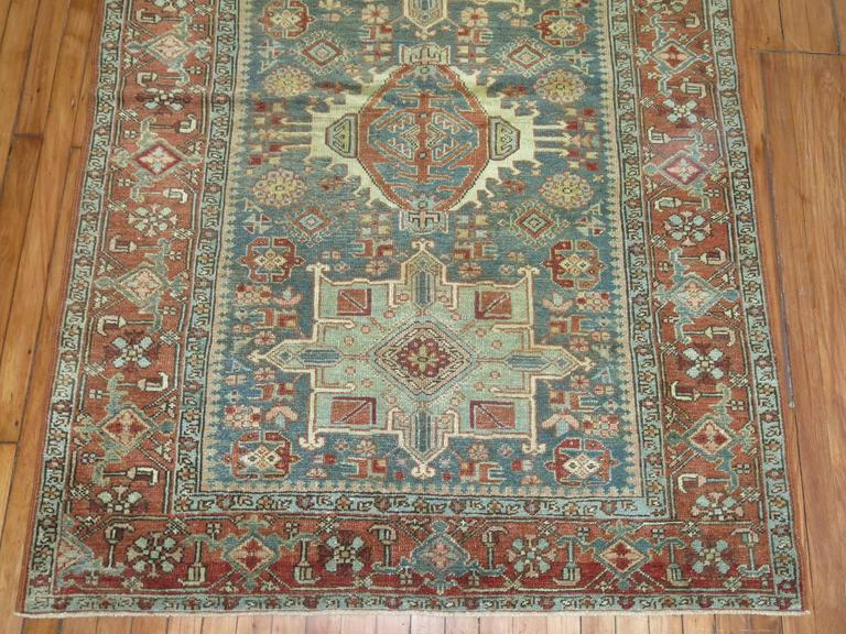 Antique Persian Heriz Karadja Rug In Good Condition For Sale In New York, NY
