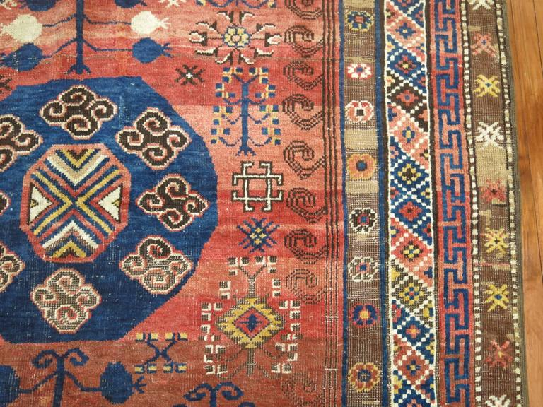 Hand-Woven Vintage Turkish Kars Rug Influenced by 19th Century Khotan Rugs For Sale