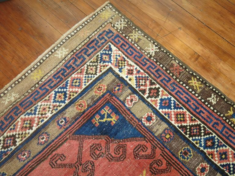 20th Century Vintage Turkish Kars Rug Influenced by 19th Century Khotan Rugs For Sale