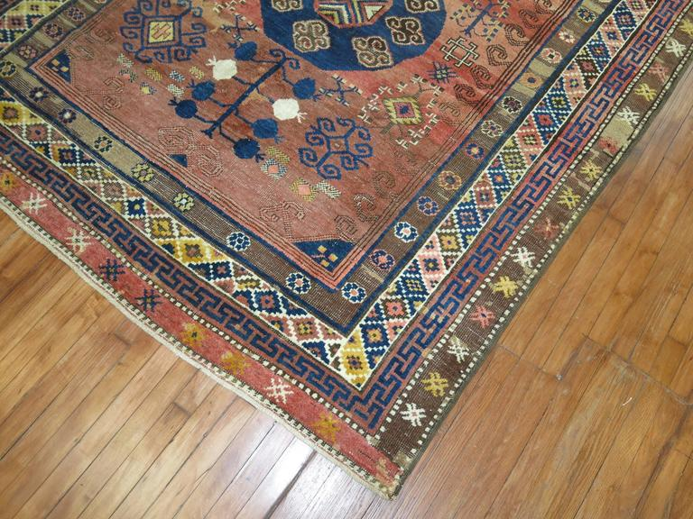 Wool Vintage Turkish Kars Rug Influenced by 19th Century Khotan Rugs For Sale
