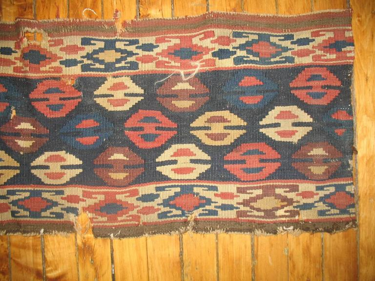 Hand-Woven Pair of 19th Century Persian Kilim Fragments For Sale