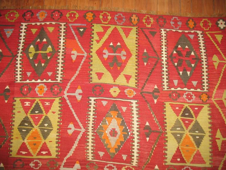 Turkish Kilim Room Size Flat-Weave For Sale