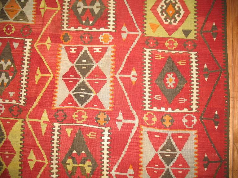Balkan Kilim Room Size Flat-Weave For Sale