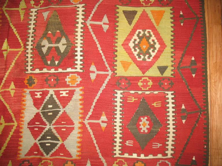 Hand-Knotted Kilim Room Size Flat-Weave For Sale