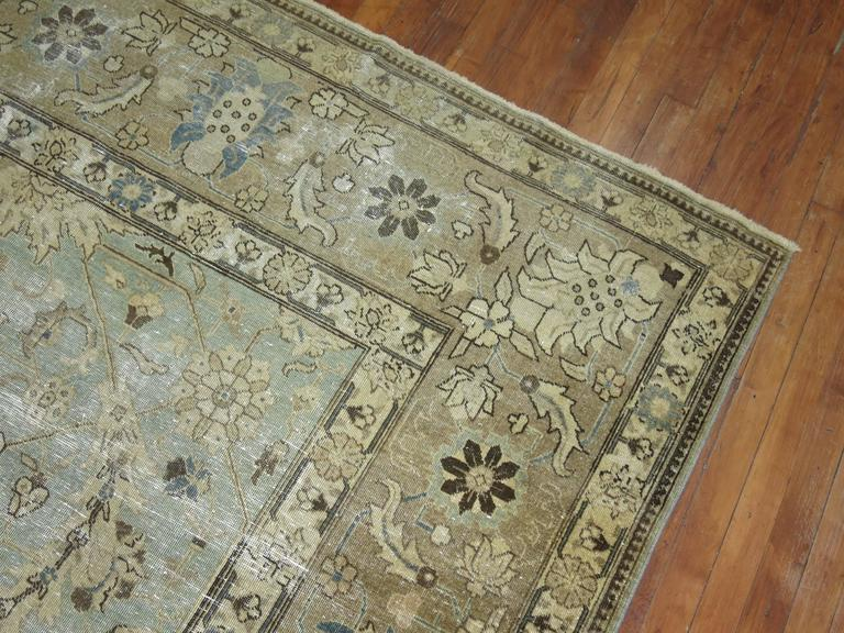 Shabby Chic Persian Tabriz Carpet In Fair Condition For Sale In New York, NY