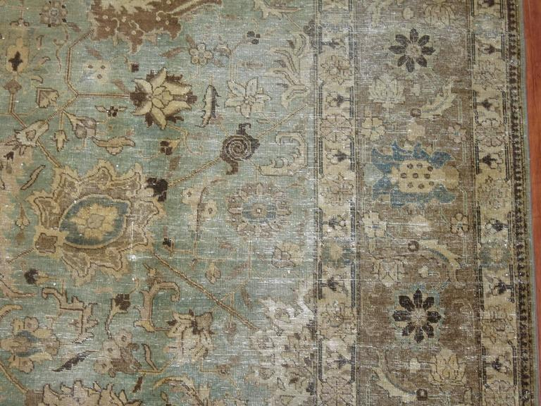 Agra Shabby Chic Persian Tabriz Carpet For Sale