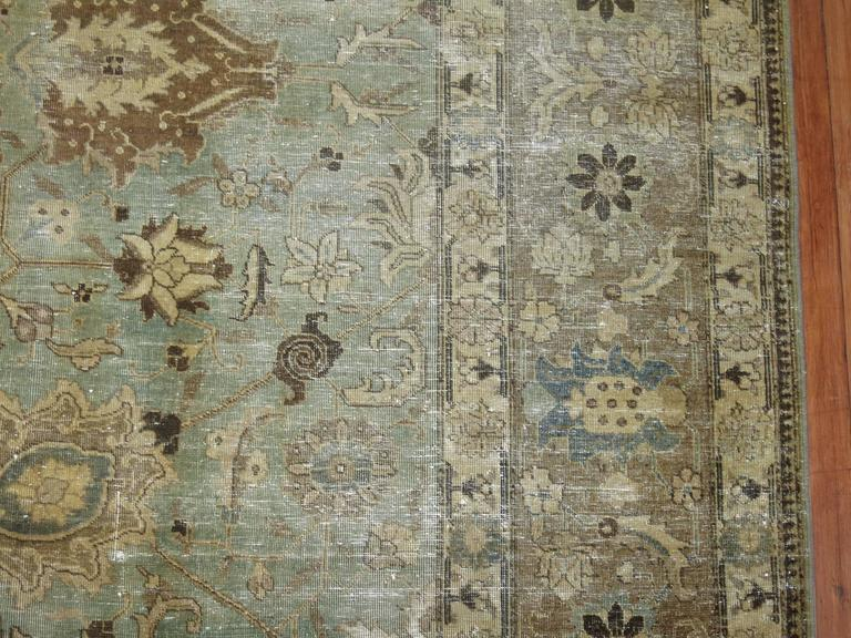 Hand-Knotted Shabby Chic Persian Tabriz Carpet For Sale