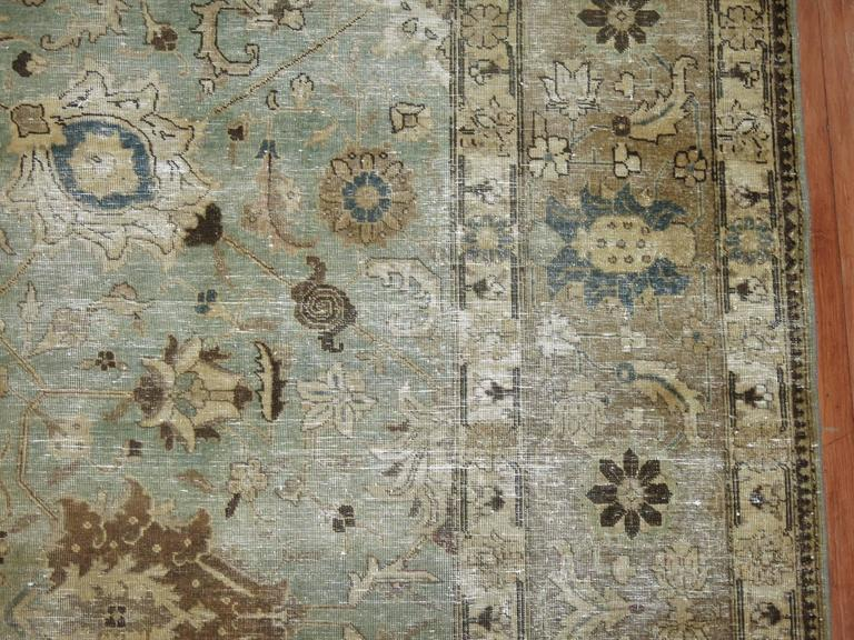Wool Shabby Chic Persian Tabriz Carpet For Sale