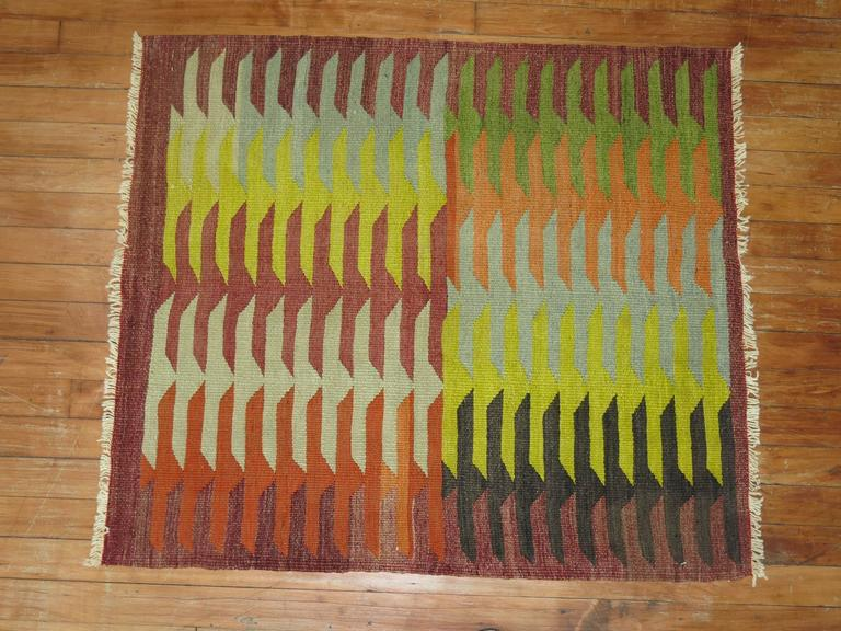 Adirondack Vintage Turkish Kilim Square For Sale