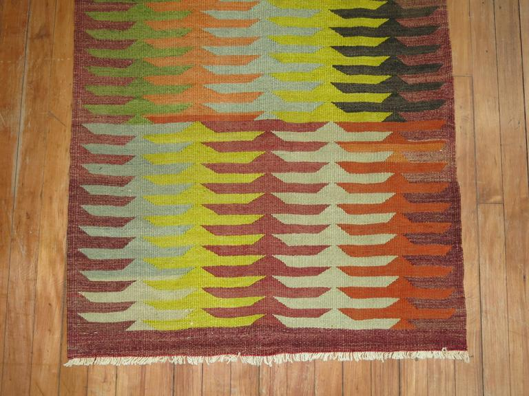 Square size vintage Turkish Kilim.