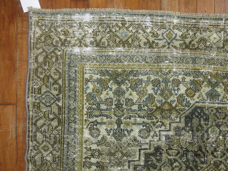 Hand-Knotted Shabby Chic Persian Bibikabad Rug For Sale