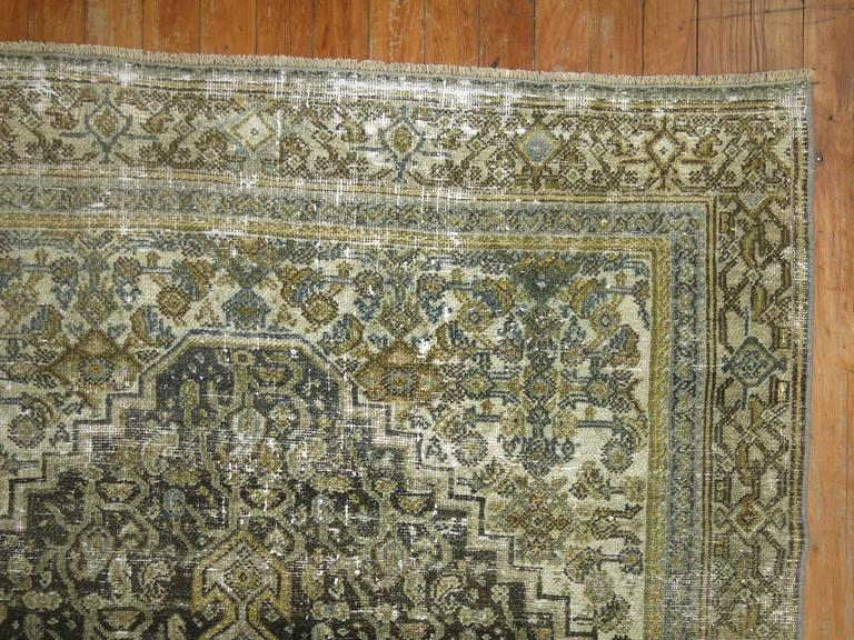 Wool Shabby Chic Persian Bibikabad Rug For Sale