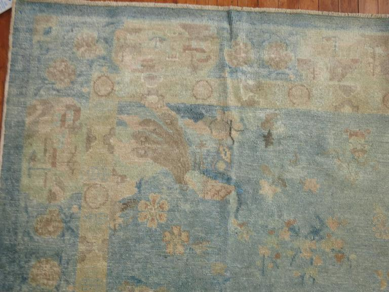 Watery Blue Antique Chinese Rug For Sale At 1stdibs