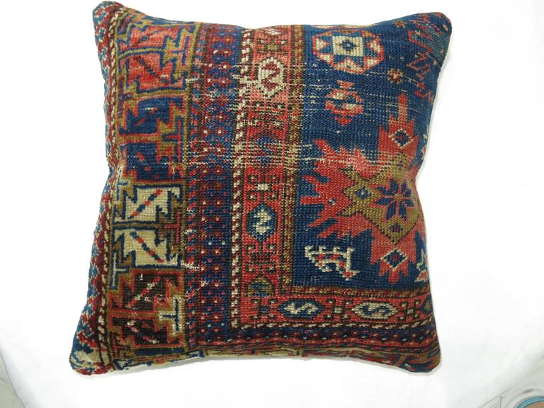 Tribal Pair of Caucasian Rug Pillows For Sale