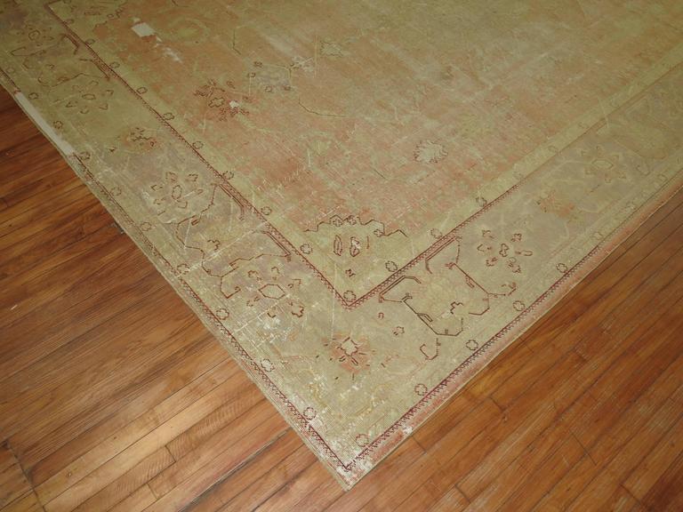 Shabby Chic Antique Oushak Carpet For Sale At 1stdibs
