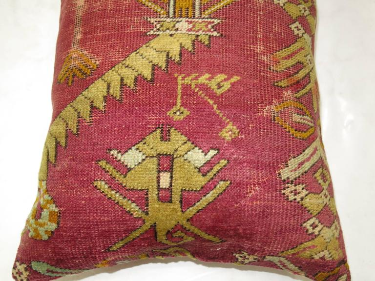 Agra Turkish Ghiordes Rug Pillow from 19th Century Rug For Sale