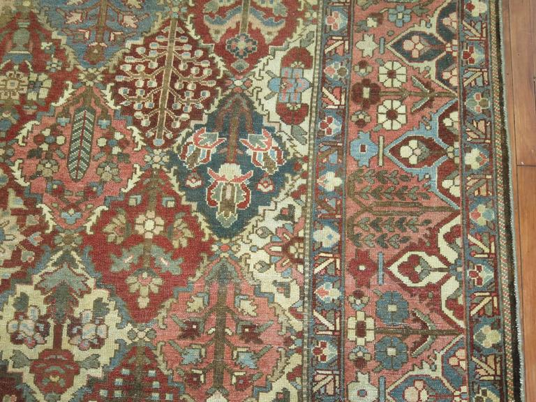 Serapi Antique Square Persian Bakhtiari Rug For Sale