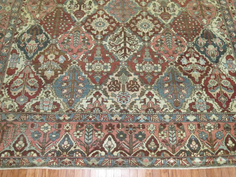 Antique Square Persian Bakhtiari Rug In Good Condition For Sale In New York, NY