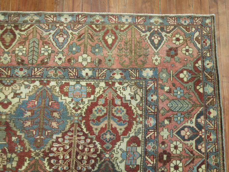20th Century Antique Square Persian Bakhtiari Rug For Sale