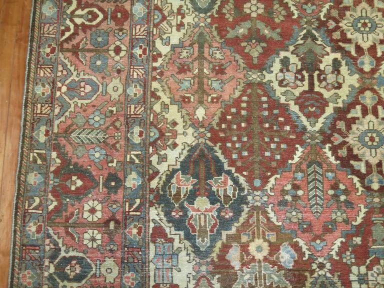 Wool Antique Square Persian Bakhtiari Rug For Sale