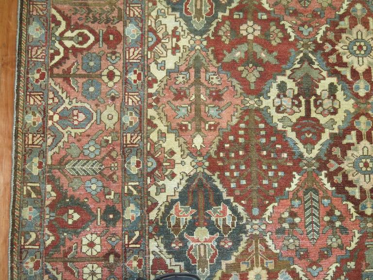 Antique Square Persian Bakhtiari Rug For Sale 1