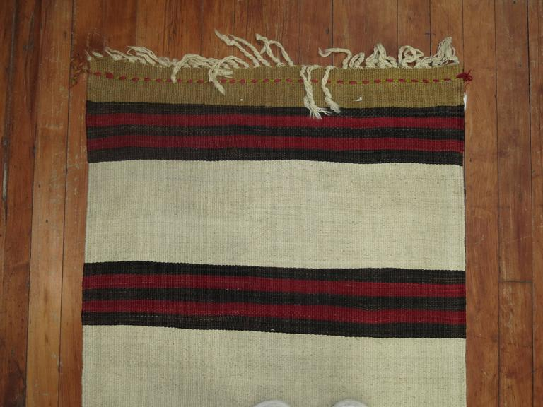 Hand-Knotted Long Ivory Striped Vintage Kilim Long Runner For Sale