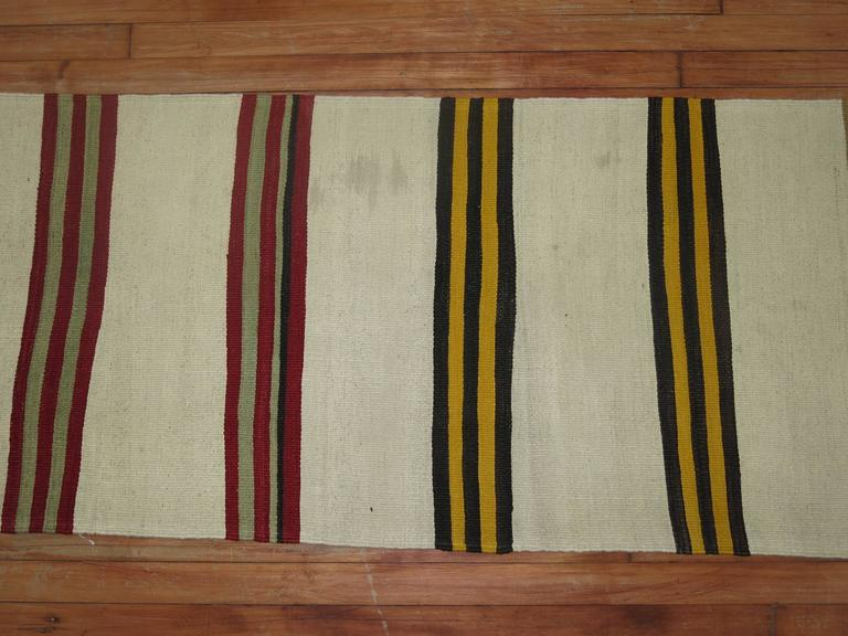 Long Ivory Striped Vintage Kilim Long Runner In Good Condition For Sale In New York, NY