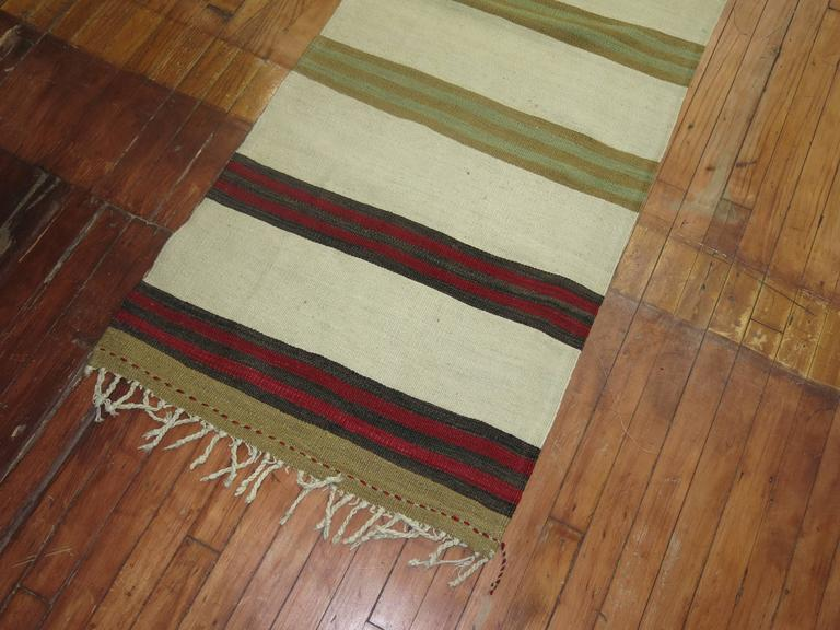 20th Century Long Ivory Striped Vintage Kilim Long Runner For Sale