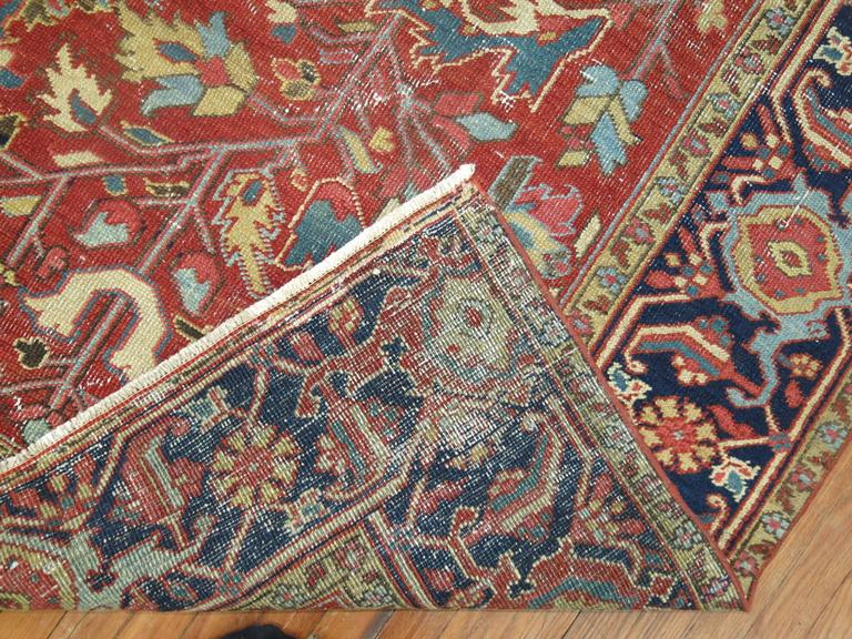 Hand-Woven Shabby Chic Antique Persian Heriz Rug For Sale