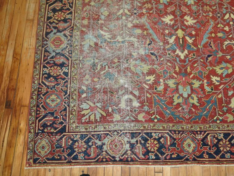 Wool Shabby Chic Antique Persian Heriz Rug For Sale