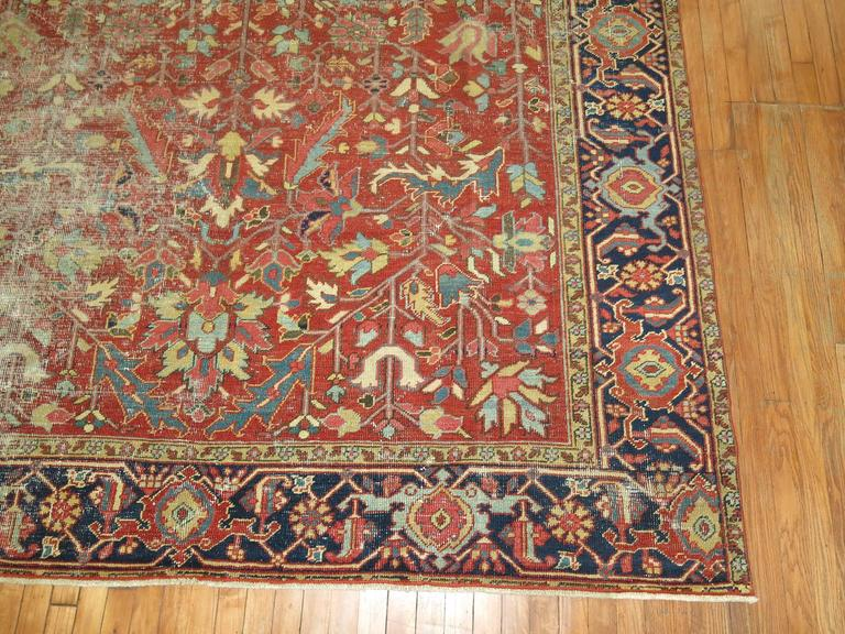 Shabby Chic Antique Persian Heriz Rug For Sale 1