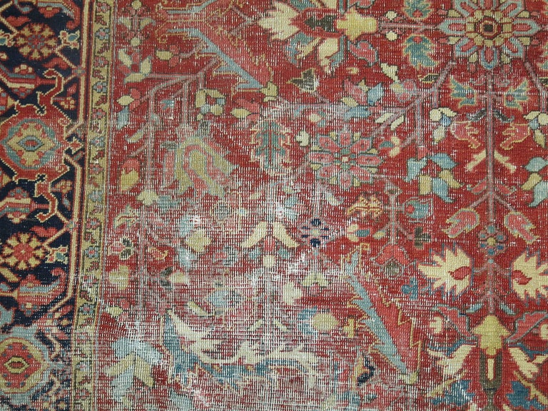 Shabby Chic Antique Persian Heriz Rug 9
