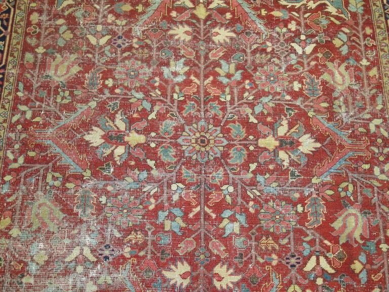 Shabby Chic Antique Persian Heriz Rug For Sale 3