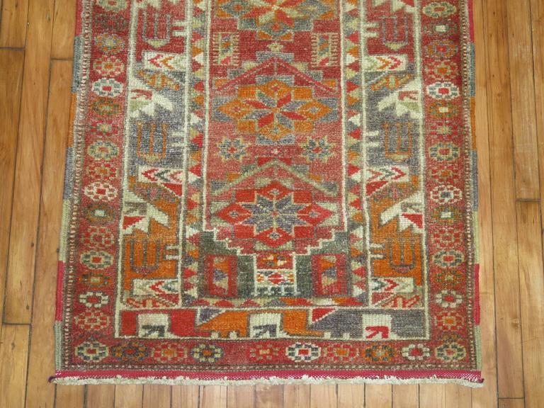 Hand-Woven Vintage Turkish Anatolian Runner For Sale