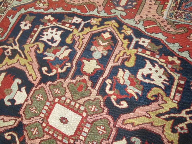 Heriz Serapi Antique Persian Heriz Oriental Rug For Sale