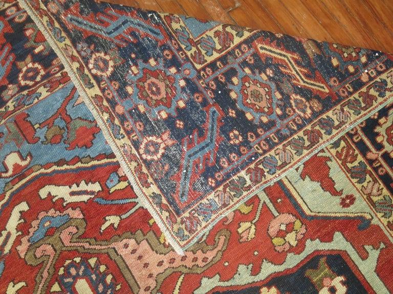 Hand-Woven Antique Persian Heriz Oriental Rug For Sale