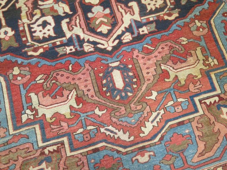 20th Century Antique Persian Heriz Oriental Rug For Sale
