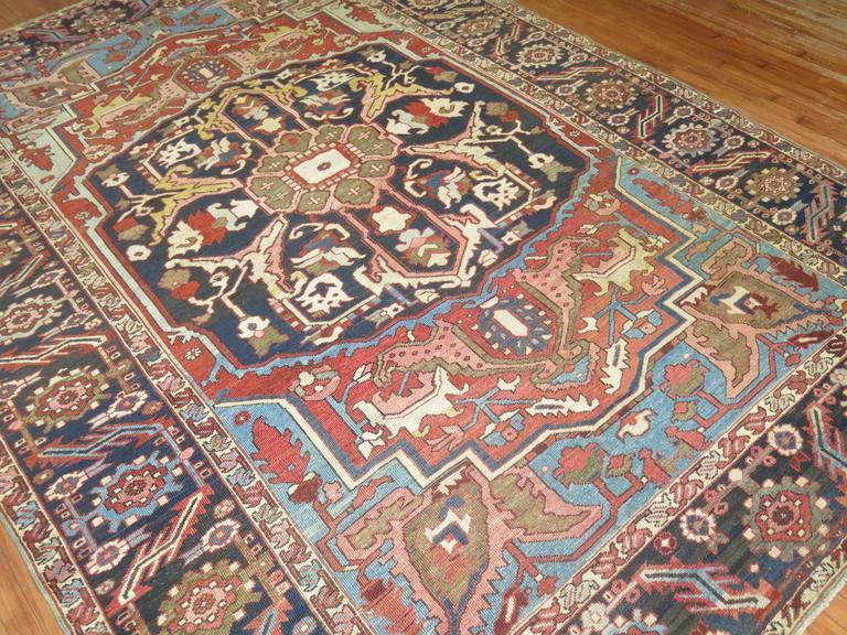 Wool Antique Persian Heriz Oriental Rug For Sale