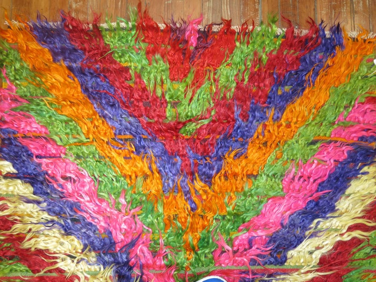 Hand-Knotted Turkish Tulu Shag Runner For Sale