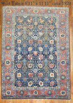 Antique Persian Tabriz Full Pile Carpet