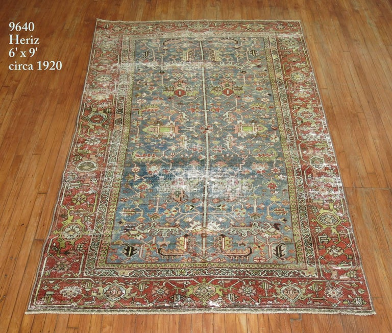 Shabby Chic Persian Heriz Rug For Sale 2