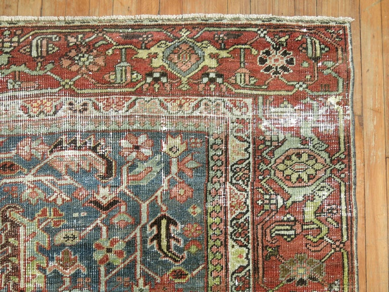 Hand-Woven Shabby Chic Persian Heriz Rug For Sale