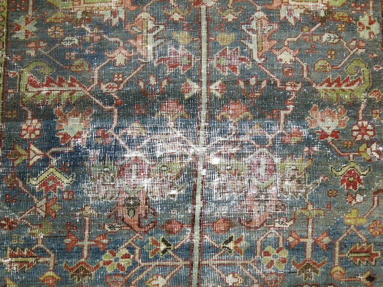 Early 20th Century Shabby Chic Persian Heriz Rug For Sale