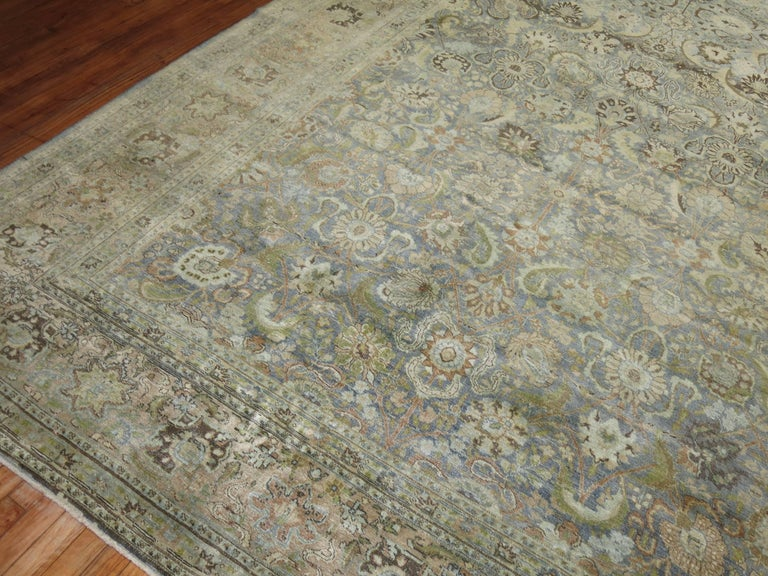 Light Blue Gray Antique Persian Tabriz Carpet For Sale At
