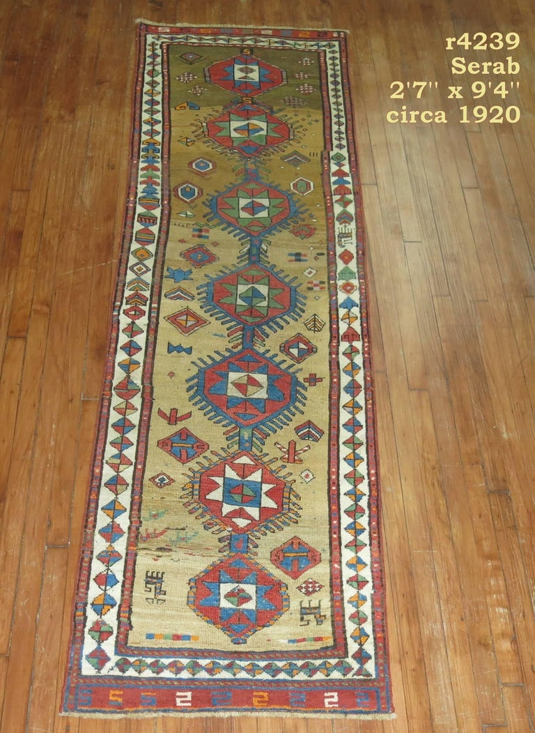 Early 20th Century Decorative Persian Bakshaish Serab Narrow Runner For Sale