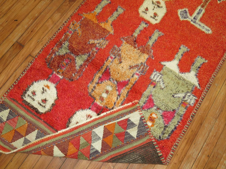 Folk Art Pictorial Human Horse Vintage South Persian Runner For Sale